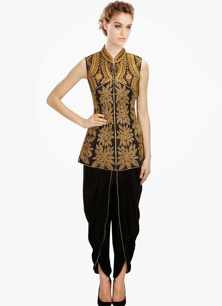 Buy Black Silk Plus Size Dhoti Pant Suit online from the wide collection of indowestern-sets-and-suits.  This indowestern-sets-and-suits goes well with any occasion. Shop online Designer indowestern-sets-and-suits from cbazaar at the lowest price.