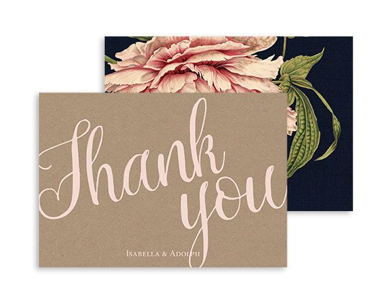 Printable Thank you card - Botanical flower wedding - Rustic peony wedding - Navy, Pink, Kraft - Fodable 5x3.5   Pink peony by NicyaPrintables on Etsy