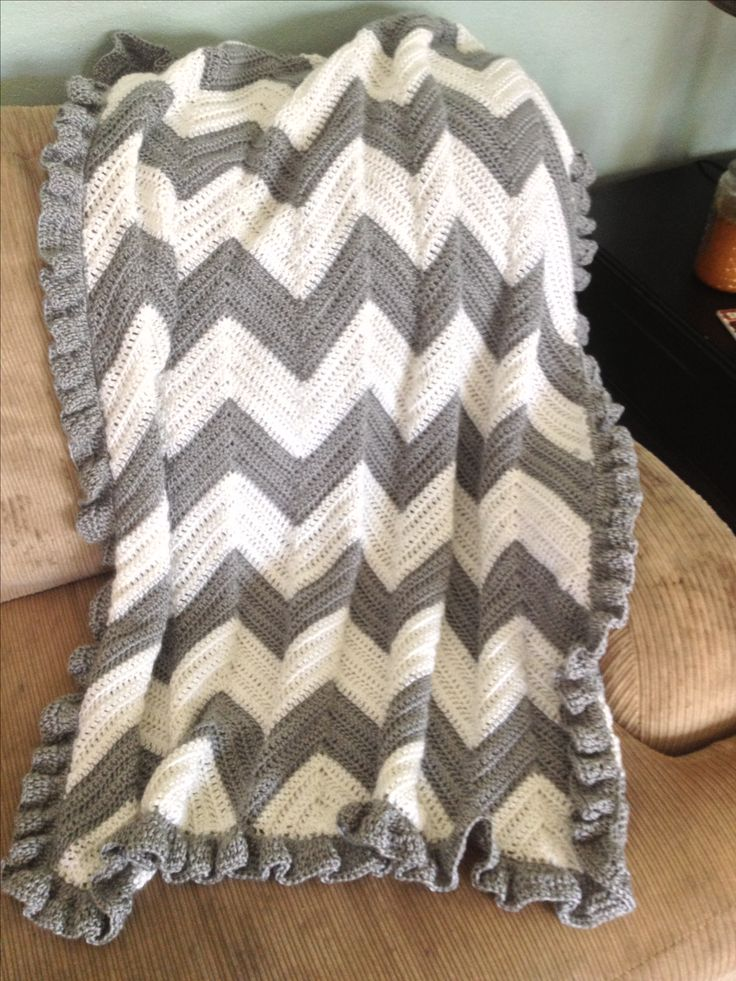 Gray and white chevron baby blanket. I L❤VE the ruffle trim edging in this!