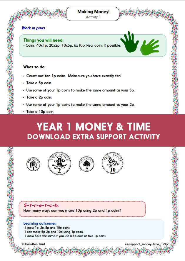 Year 1 Maths Money Time Extra