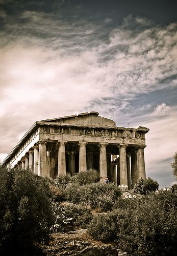 The Temple of Hephaestus and Athena Ergane (Greek: Ναός του Ηφαίστου και της Αθηνάς Εργάνης), also known as the Hephaisteion (Ηφαιστείον) or Theseion (Θησείον), is the best preserved ancient Greek temple. It is a Doric order peripteral temple, located at the north-west side of the Agora of Athens, on top of the Agoraios Kolonos (Αγοραιος) hill. From the 7th century until 1834, it served as the Greek Orthodox church of St. George Akamates (Ἀγιος Γεώργιος Ακαμάτης)