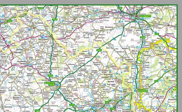 This 1:100,000 detailed map of Dorset shows the county boundary, town names, roads, railways, land features, water features and tourist information. Along with