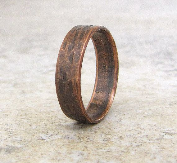 Copper Wedding Band Hammered Bark Wedding Ring Birch Bark Copper Rustic Band
