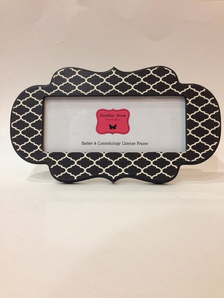 barber cosmetology license frame in black white quatrefoil fits 8 12 x 3 58 business certification