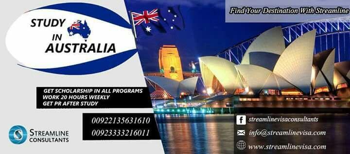 #STUDYINAUSTRALIA  GET SCHOLARSHIP IN ALL PROGRAMS WORK 20 HOURS WEEKLY GET PR AFTER STUDY  Contact us : 00923333216011 / 0092-2135631610 website : www.streamlinevisa.com EMAIL  : info@streamlinevisa.com #overseaseducationconsultants #studyabroadprogram #immigrationconsultants