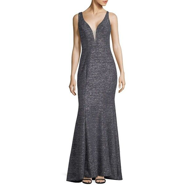 Xscape Women's Sleeveless Floor-Length Gown ($279) ❤ liked on Polyvore featuring dresses, gowns, steel, xscape gowns, blue floor length dress, floor length dresses, blue sparkly dress and floor length evening dresses