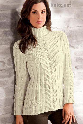 Пуловер с узором из кос. Прекрасный пуловер с узором из кос гармонично увеличивающимися к горлу пуловера и повторяющимися на рукавах.