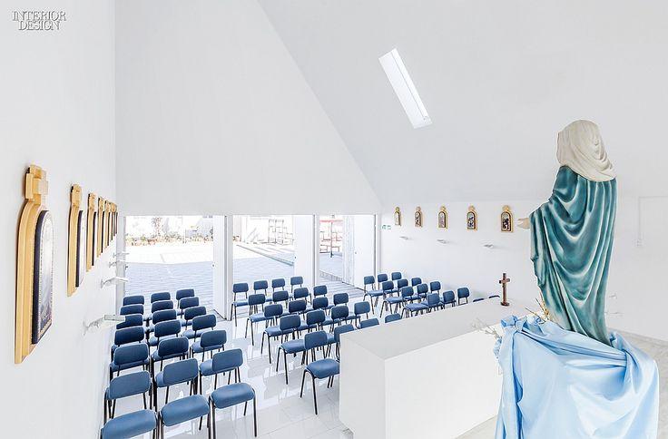 Stronger Than The Storm: Colegio Santa Rosa de Constitución | The sanctuary seats 70. #interiordesign #interiordesignmagazine #design #architecture