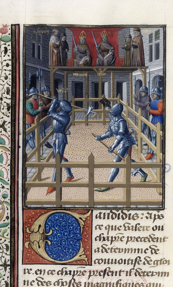 Two knights battling from BL Harley 4375, f. 171v | Valerius Maximus, translated by Simon de Hesdin and Nicholas de Gonesse | 1473 - 1480 | The British Library | Public Domain Marked