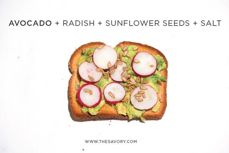 Avocado roast + radish + sunflower seeds + salt