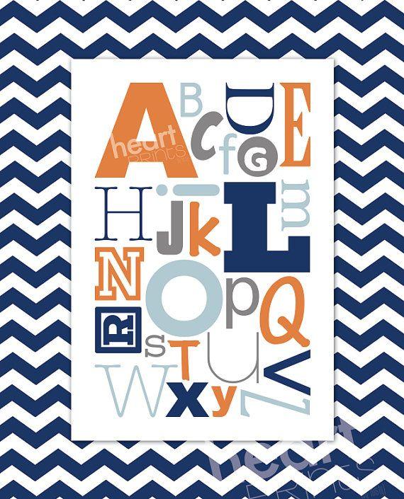 alphabet chevron nursery wall art navy blue by HeartPrintsbymisty