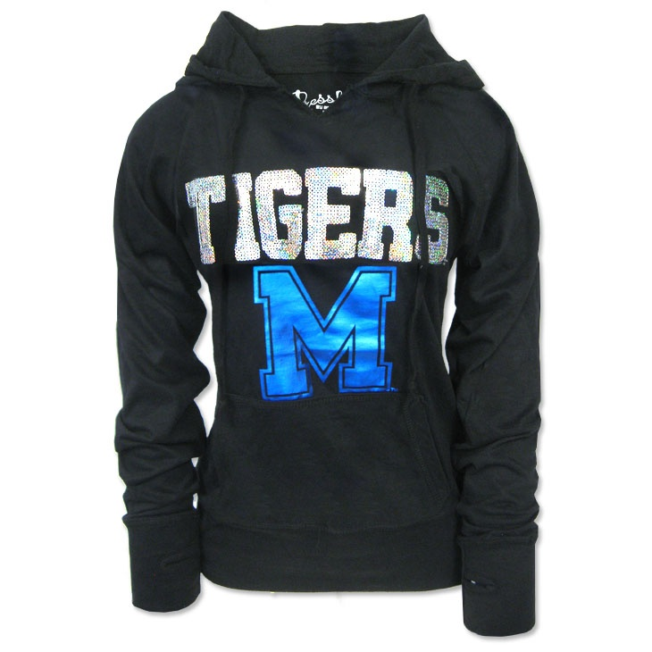 We love this women's sequin Memphis Tigers hooded t-shirt from Pressbox®!