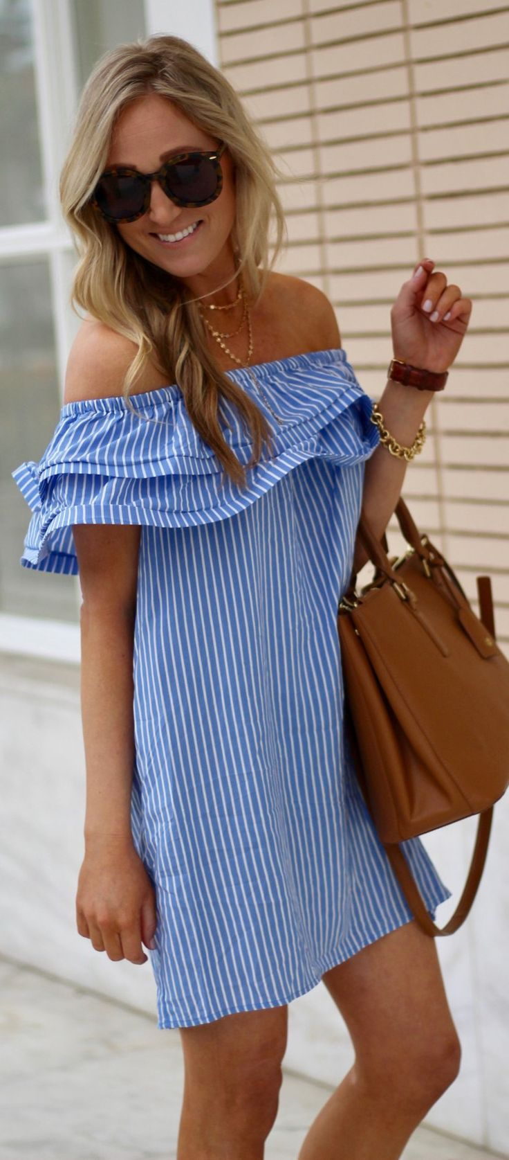 Blue Striped Off Shoulder Dress / Brown Leather Tote Bag
