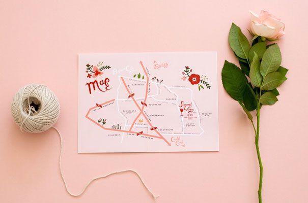 I design wedding stationery for a living and I have already illustrated a map to help guests find there way around the botanic gardens. designing for you own wedding is so much more fun (don't tell my boss I said that).