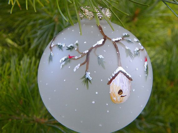holiday tree ornament bird houses cardinal by MaineWeddingArtist