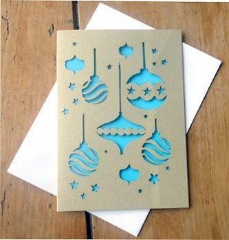 bauble card paper cut