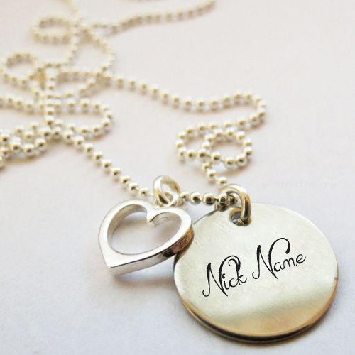 Get your name in beautiful style on Nick Heart Necklace picture. You can write your name on beautiful collection of Jewelry pics. Personalize your name in a simple fast way. You will really enjoy it.