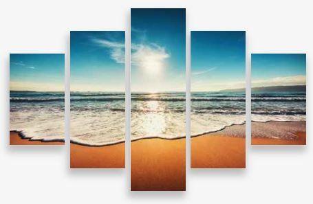 Canvas Wall Art 5 Panel Framed Multi Print- Beach Scene