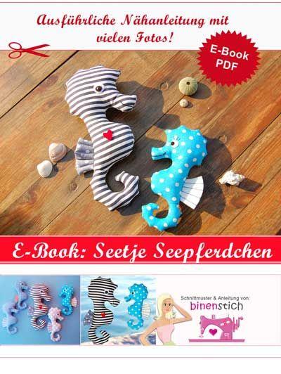 Kuscheltier Seepferdchen nähen: Anleitung im Shop als E-Book   binenstich.de