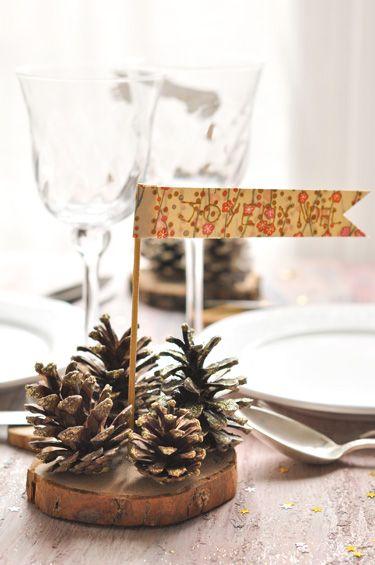 #4 Centre de table pailleté aux pomme de pin pour Noël | Carnets Parisiens