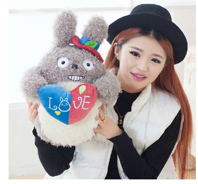 Плюшевые куклы 1 шт. 40 см прекрасный смех тоторо держать в форме сердца круглый украшения дома дети мягкая игрушка творческий подарок для ребенка