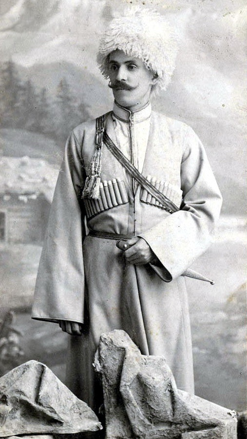 Georgia, Russian Empire, 1911.  The subject is wearing the traditional chokha garment worn by the men of the Caucasus. (Flickr via Wikipedia)