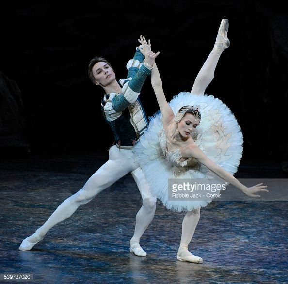 Irina Dvorovenko as Princess Odette and Maxim Beloserkovsky as Prince Siegfried perform in American Ballet Theatre's production of 'Swan Lake' at the London Coliseum. (Photo by robbie jack/Corbis via Getty Images)