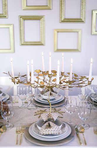 Wood and Gold Hanukkah Tablescape