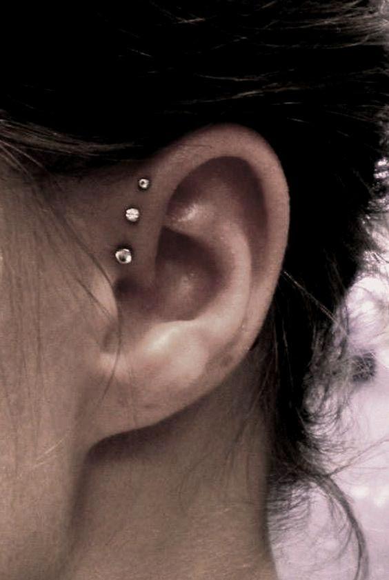 Triple stud ear piercing #piercing #womentriangle