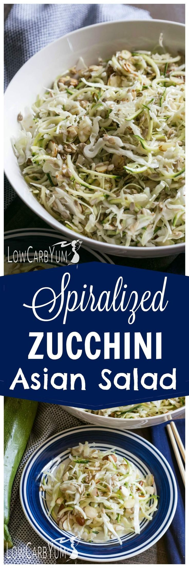 You'll enjoy this refreshing spiralized zucchini Asian salad on those lazy hot summer days. No cooking involved. Just mix and chill this side dish. | http://LowCarbYum.com