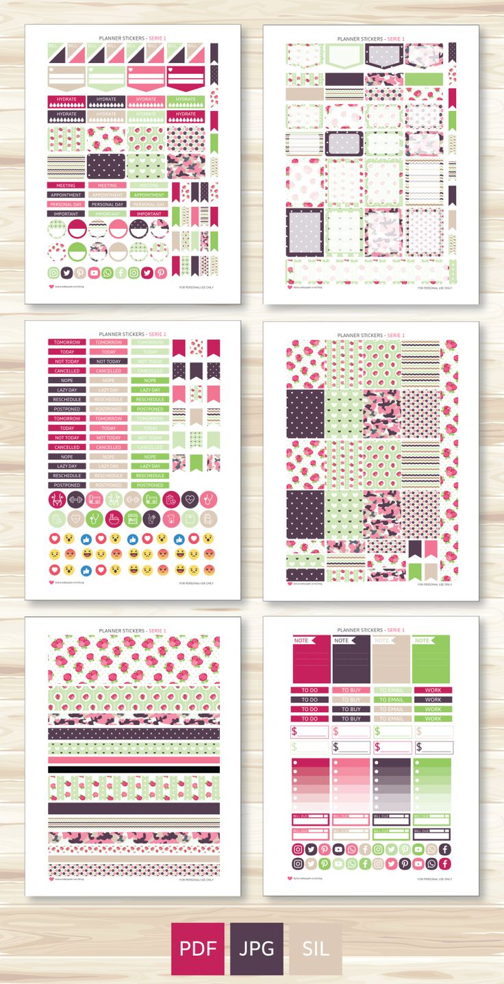 Free printable planner stickers - Beautiful stickers for your planner Direct download
