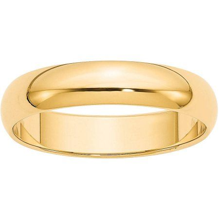 Primal Gold Primal Gold 10 Karat Yellow Gold 5mm Half Round Band Size 5 5 Walmart Com In 2020 Round Wedding Band Plain Wedding Band Fine Jewelry Gift