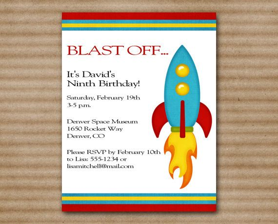 33 best Birthday party invites images – Rocket Ship Birthday Invitations