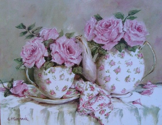 Ready to Frame Print - Morning Tea and Roses - Postage is included Australia Wide
