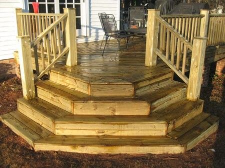 Building Deck Stairs is a set by step process of how to build deck stairs along with large pictures to help you understand the process better.