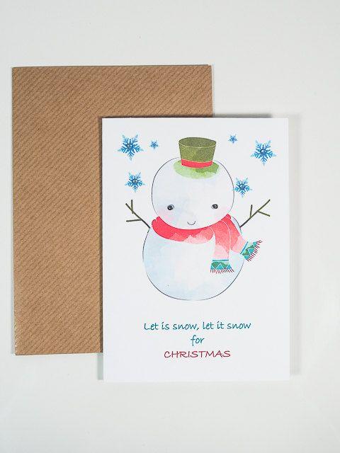 SNOWMAN HANDMADE CARD Funny Snowman Christmas Card by artMagnolia