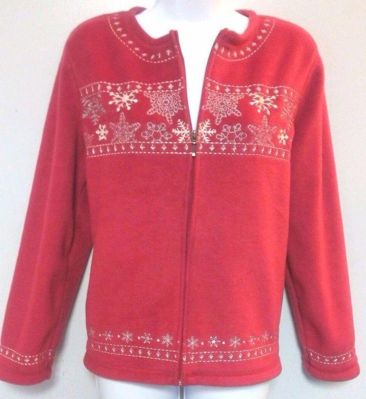 Women's Red Sweater Croft and Barrow Zip Up Top Size Petite Medium #CroftBarrow #FullZip