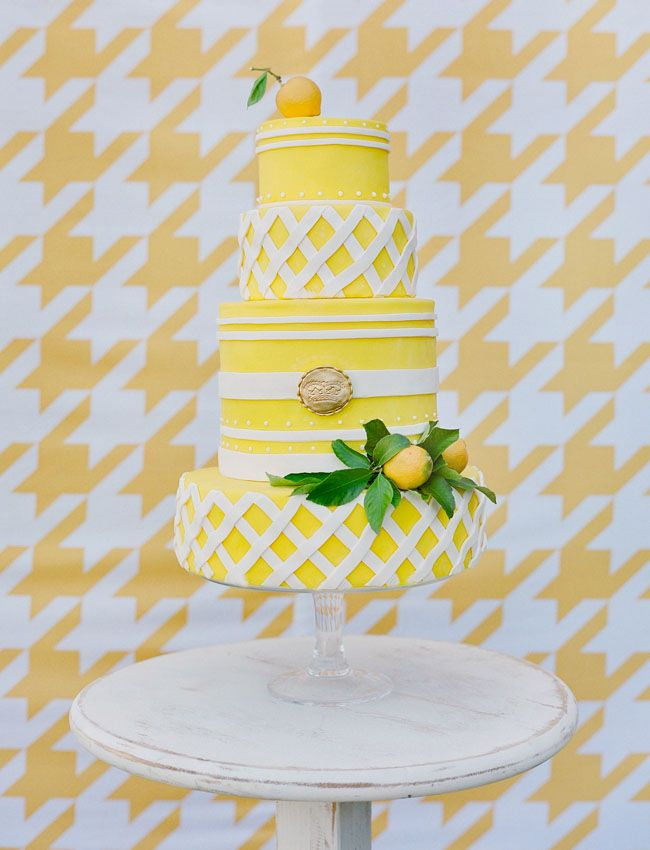Sunshine yellow is a gorgeous color choice for the wedding cake at a Summer celebration!
