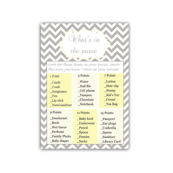 INSTANT DOWNLOAD Grey Chevron Whats In The Purse Bridal Shower Games - Bridal Shower Party Games Bridal Shower Card Games Bridal Shower Item
