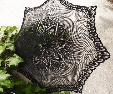 Lacey black goth parasol available on Etsy.