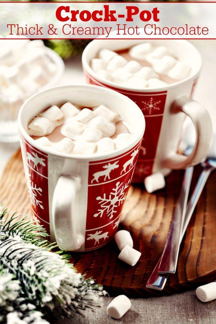 Crock Pot Thick Creamy Hot Chocolate Recipe Recipe In 2020 Creamy Hot Chocolate Recipe Hot Chocolate Recipes Slow Cooker Desserts