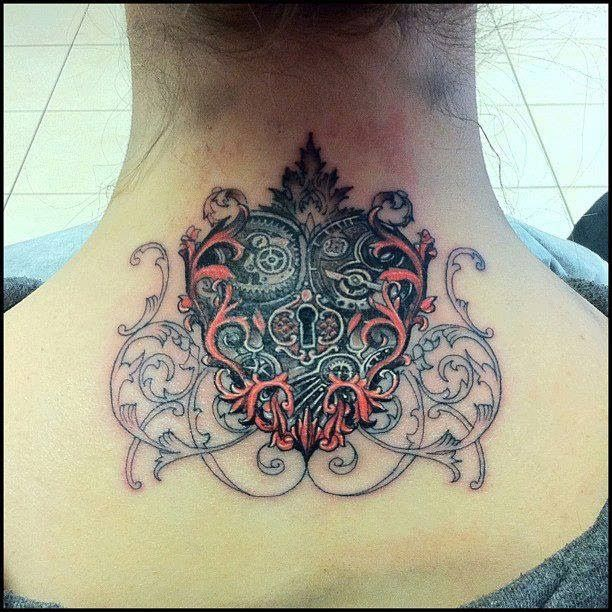 Flower design heart lock tattoo on neck.. Click for more #tattoos