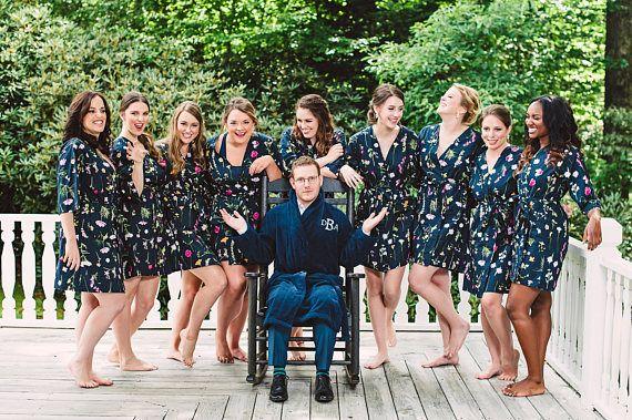 Navy Bridesmaids Robe. Navy Bridesmaids Robes. Bridesmaid