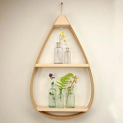 Large Eco-Friendly Wooden Shelf - 2 shelves with Natural Finish - Make a statement on your wall with our Mid-Century Teardrop Shelf. It doubles as convenient, creative storage, with shelving space for frames, decorative plants, and other knickknacks.