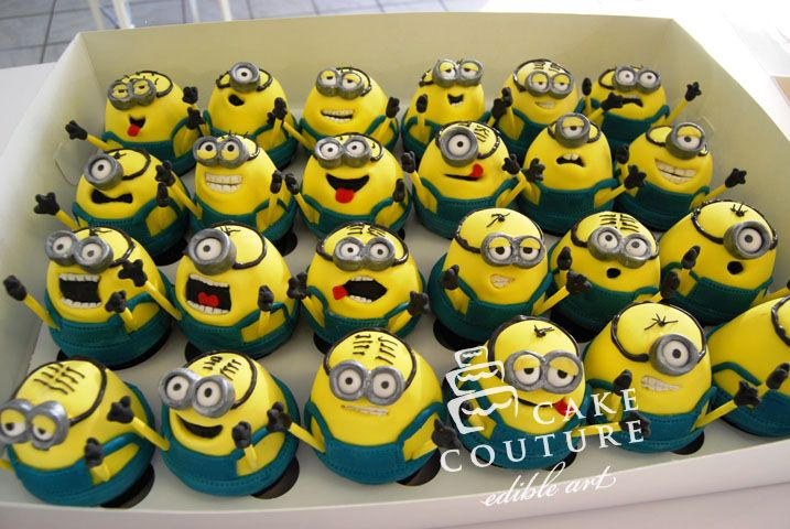 Despicable Me Cupcakes- if I was at all artistic- little LB would have this themed party!