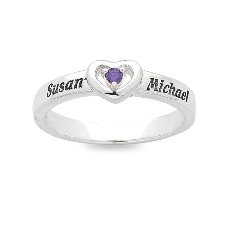 Personalised Heart Birthstone Name Ring