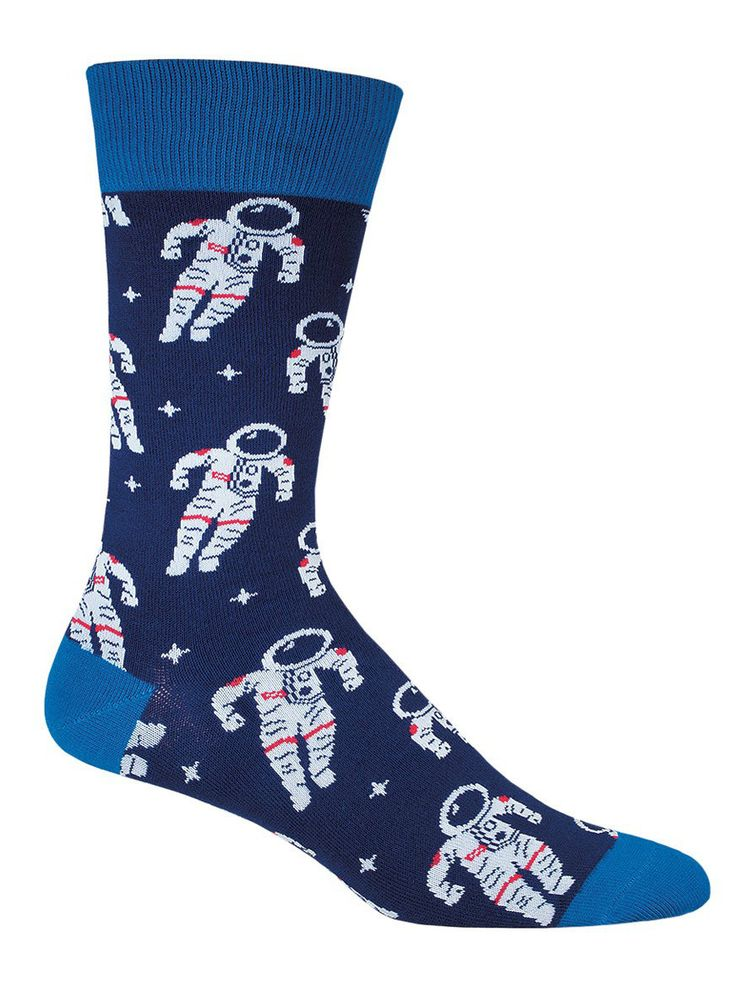 One small step for man, one large step for man's collection of incredibly cool space socks. Rock this pair in both red and blue, and watch your legendary moonwalk skyrocket in popularity. Keep thankin
