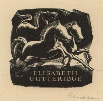 Bookplate by Allan Jordan (1898-1982) for Elisabeth Gutteridge; 1946