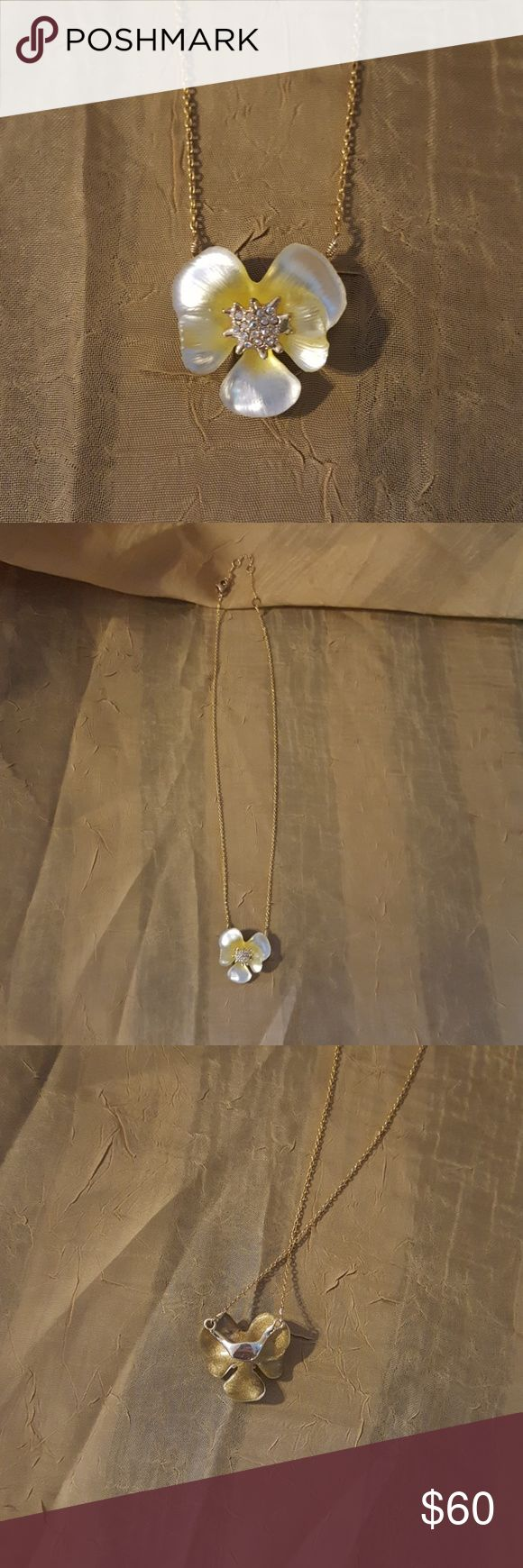 """Alexis Bittar swarovski crystal 10k gold plate Worn once. Yellow and white Lucite 10k gold plate swarovski crystals & 18k gold plated clasp. Sold from Nordstroms. Adjustable 16"""" chain with 3"""" extension. Worn once then put in jewelry box. Alexis Bittar Jewelry Necklaces"""