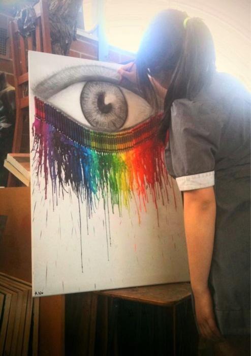 love it: melting crayon x charcoal eye on canvas